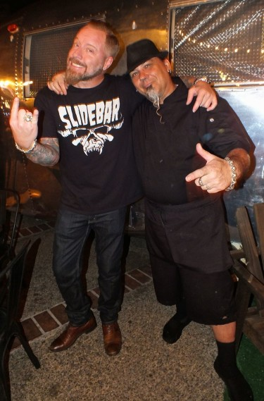 Jeremy and Oge at Slidebar. r. Photo by Edward Simon for The Los Angeles Beat