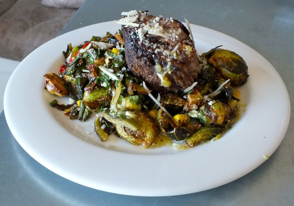 Short rib with Brussells Sprouts at Restauration. Photo by Edward Simon for The Los Angeles Beat.