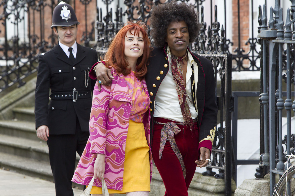 "L-R) Hayley Atwell as Kathy Etchingham and André Benjamin as Jimi Hendrix in the drama/biopic ""JIMI: ALL IS BY MY SIDE"" an XLrator Media release.  Photo credit: Patrick Redmond."