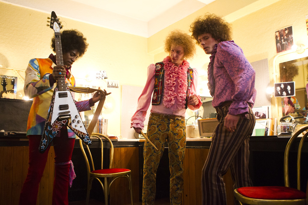 "(L-R) André Benjamin as Jimi Hendrix, Tom Dunlea as Mitch Mitchell and Oliver Bennett as Noel Redding in the drama/biopic ""JIMI: ALL IS BY MY SIDE"" an XLrator Media release.  Photo credit: Patrick Redmond."