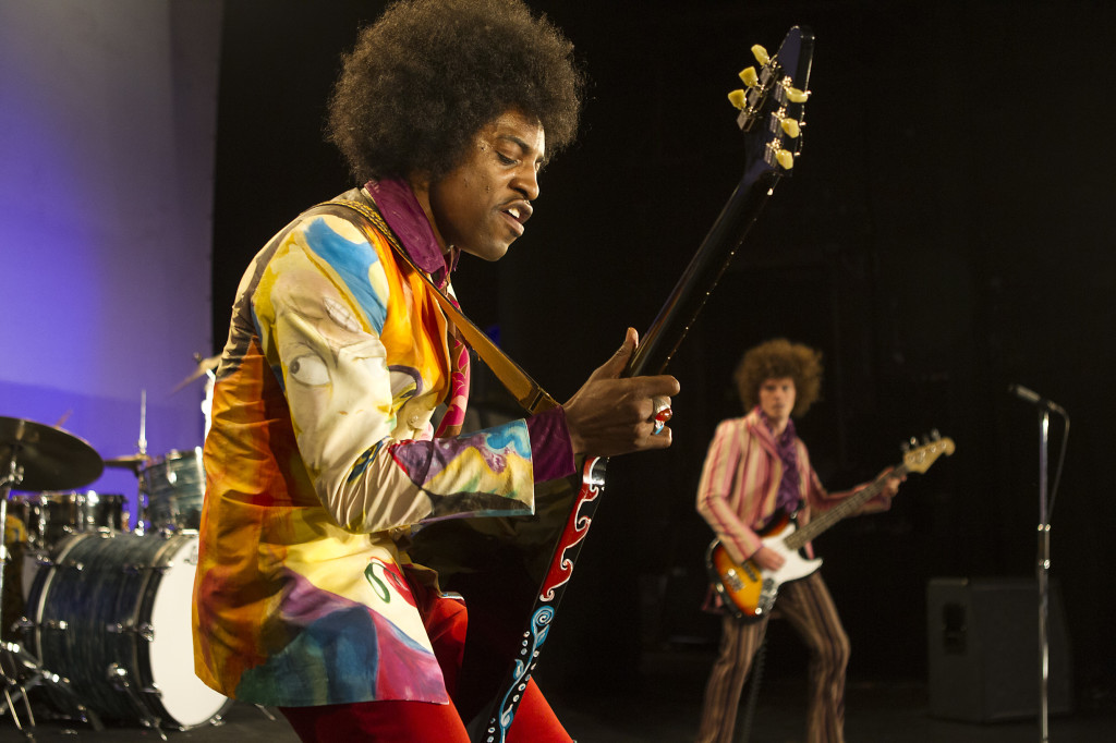 "(L-R) André Benjamin as Jimi Hendrix and Oliver Bennett as Noel Redding in the drama/biopic ""JIMI: ALL IS BY MY SIDE"" an XLrator Media release.  Photo credit: Patrick Redmond."