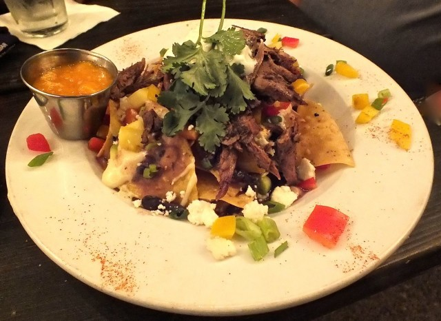 duck nachos plate at the Slidebar. r. Photo by Edward Simon for The Los Angeles Beat