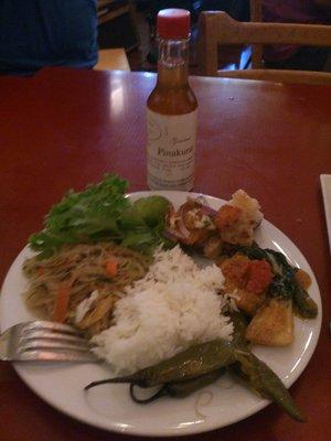 Rice, Pancit Sontanghon, Pork Belly Lechon Asado, Kare Kare (Photo by Gary Idama)