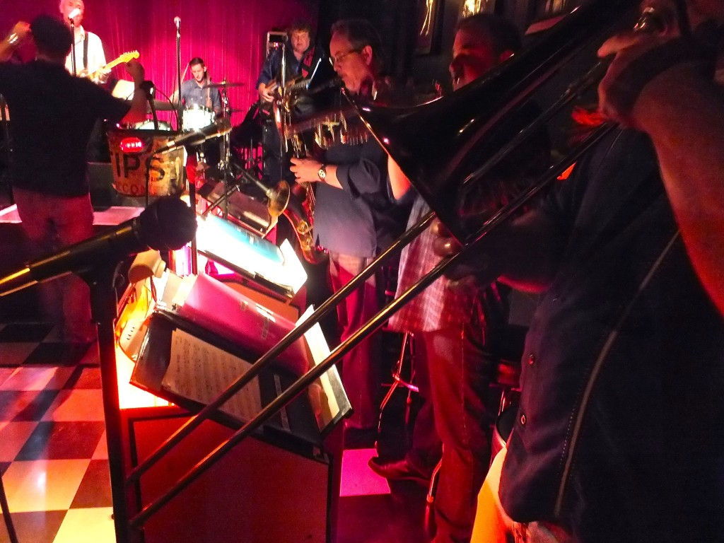 Band playing from horn section. Photo by Edward simon for The Los Angeles Beat.