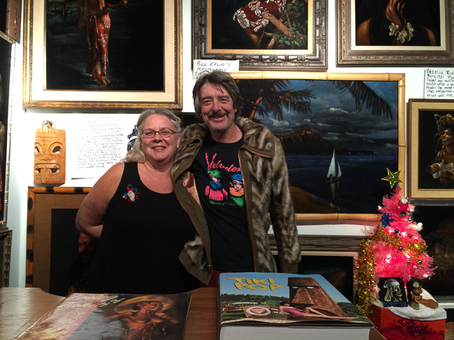 Caren Anderson and Carl Baldwin, owners and curators of Velveteria at their A Very Tiki Christmas exhibit (photos by Judy Ornelas Sisneros)