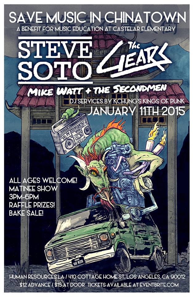 Save Music in Chinatown: The Gears, Steve Soto, Mike Watt & the Secondmen Sunday, January 11th 3pm-6pm