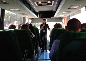 Cindy Schwarztein on Cartwheel Art bus.