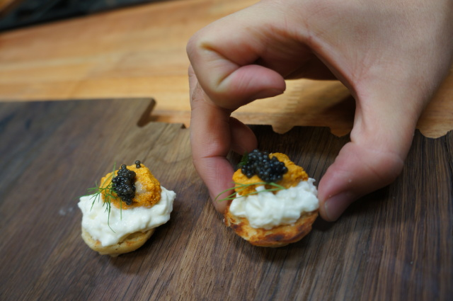 Burrata, uni and caviar canape by Chef Ari Taymor