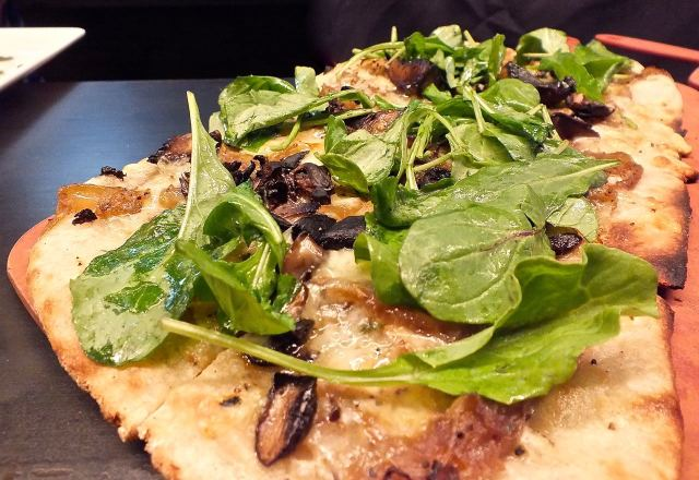 Wild Mushroom flatbread. Photo by Ed Simon for The Los Angeles Beat.