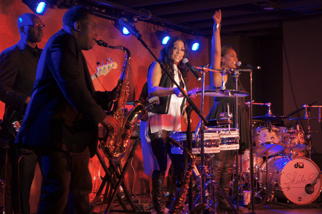 Eddie M, Sheila E and Lynn Mabry onstage at the E Spot. Photo by Bob Lee for the Los Angeles Beat.