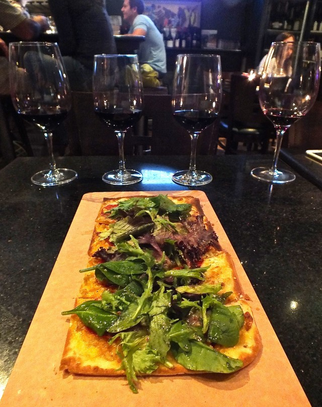 Flatbread and wine. Photo by Ed Simon for The Los Angeles Beat.