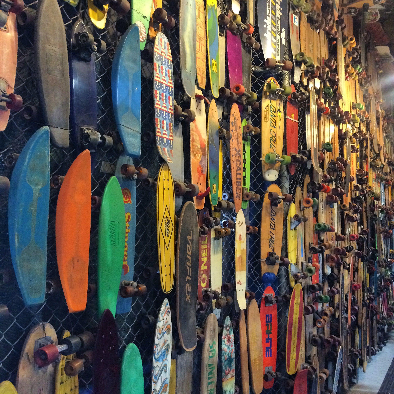 A tunnel of vintage skateboards inside the entrance to Skatelab (photo by Nikki Kreuzer)