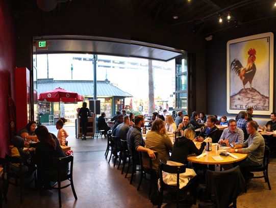 The dining room inside Loreria Grill on Santa Monica's Third Street Promenade.