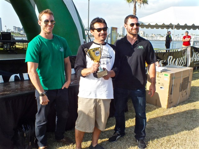 Big Poppa Smokers Grand Champions with the boys from Green Mountain Grills. Photo by Ed Simon for The Los Angeles Beat.