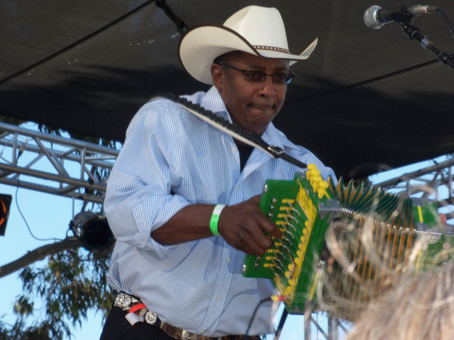 "Leroy Thomas & the Zydeco Roadrunners  Leroy Thomas in Long Beach, California 2011 ""The Jewel of the Bayou"". Photo courtesy Clotee Allochuku/Long Beach Bayou Festival"
