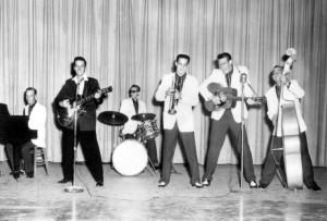 """Sonny Burgess and the Pacers,  performing """"Red-Headed Woman""""  onstage in the 1950s."""