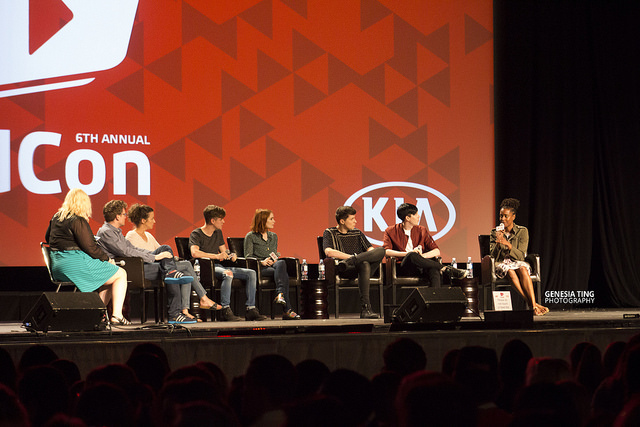A panel at VidCon at the Anaheim Convention Center. Photo by Genesia Ting for the Los Angeles Beat.