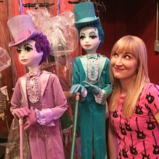 The author visits the Bob Baker puppets (photo by Chris Carlone)