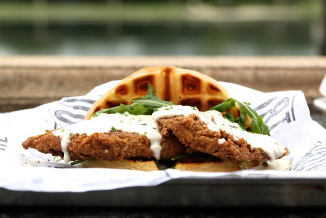 Fried Chicken Waffle Sandwich. Photo Courtesy of Kitchen Table PR.