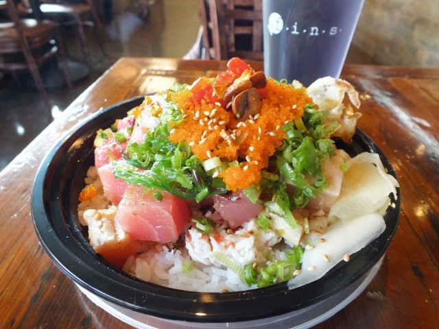 A delicious Poke Bowl from Fins Poke Fusion. Photo by Ed Simon for The Los Angeles Beat