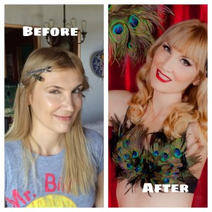 The author, before and after her Iconic Pinups transformation