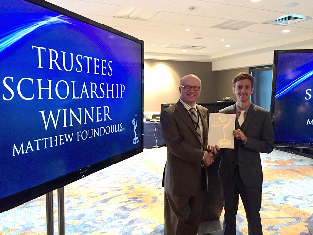 $40,000 Trustees' Scholarship Recipient: Matthew Foundoulis, Photo Courtesy of NATAS