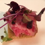 New York steak carpaccio with hazelnut soubise and capers from Viviane