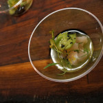 Taco Maria's Scallop Aguachile with serrano, citrus, cucumber, hoja santa and a touch of squid ink