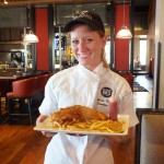 Chef Sarah with Fish and Chips. e. Photo by Ed simon for The Los Angeles Beat