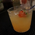 "Don Julio's ""Tiki on the Radio"" with a candy strawbery garnish"