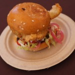 Free Range Chicken Sandwich. The chicken is sticking out like a little arm waving hi