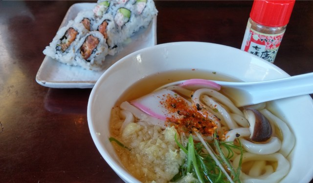 Katsu-ya rolls and mini-udon (photo by ChrisO)