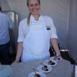 Chef Stephanie Franz of The Strand House with her blueberry crumb cake with creme fraiche and blueberry compote and brown sugar sauce at Pier del Sol
