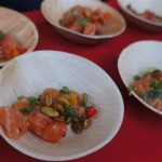 Sweetfin Poke's cold smoked salmon with blood orange ponzu, confit butternut squash and truffled pumpkin seeds