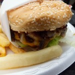 Mushroom burger CU. Photo by Ed Simon for The Los Angeles Beat