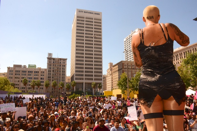 "Amber Rose Brought ""SlutWalk LA"" to Pershing Square in DTLA"