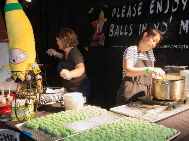 Thi Tran and Rebekah Shibley of Starry Kitchen with their infamous balls (Photo by Dan Crossland courtesy of Eastside Food Festival)