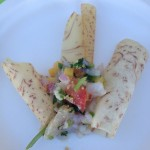 Chef Brooke Williamson's Shrimp and tuna ceviche with passion fruit on a vegetable chip at Pier del Sol