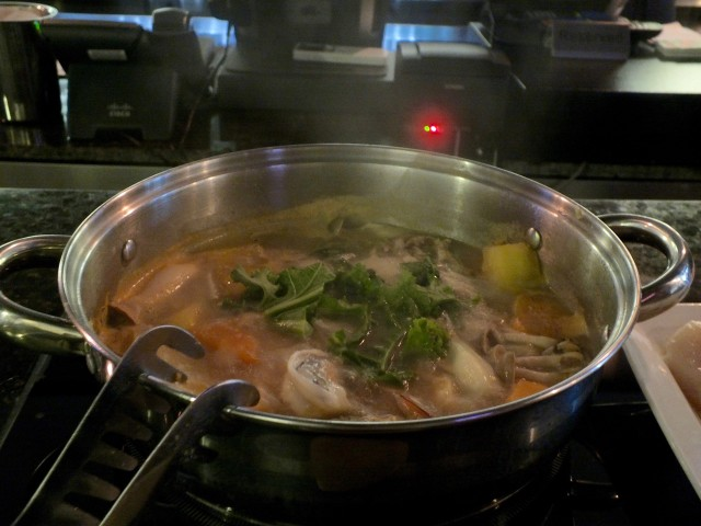A simmering hot pot at True Seasons Organic Kitchen. Photo by Ed simon for The Los Angeles Beat.