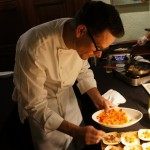 Host chef Louis Pechan of The Ebell with whole diver scallops at Taste America