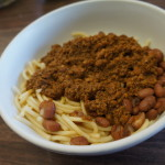 Turkey chili and beans over spaghetti