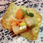 Faith & Flower served Maine scallop ceviche with winter citrus on crispy taro chips
