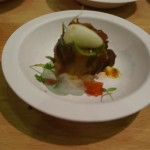 Coconut braised Korobutu pork belly with quail egg from Hungry Bear Catering