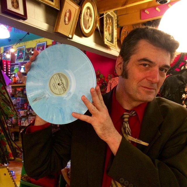 Skip Heller, proudly displaying his new record. Courtesy of Dionysus Records.