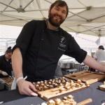 Chef Bernhard Mairinger of BierBeisl's Crispy Pork Belly Crostino, fava beans, radish