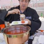 Celestino Drago serves his tomato and vegetable soup