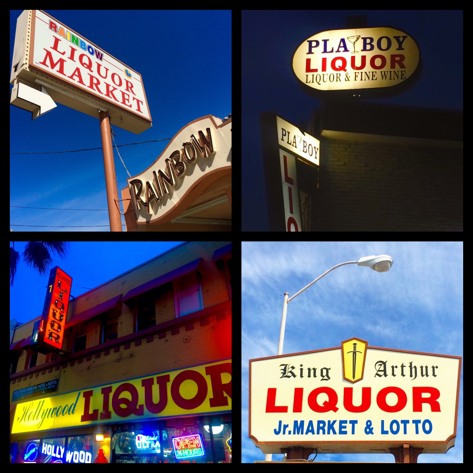 Going for big names... Rainbow Liquor on Saticoy Ave in Reseda; Pla-Boy Liquor on Yucca Street in Hollywood; Hollywood Liquors on Hollywood Blvd in Hollywood; King Arthur Liquor, opened in 1980 on Corbin Ave in Northridge