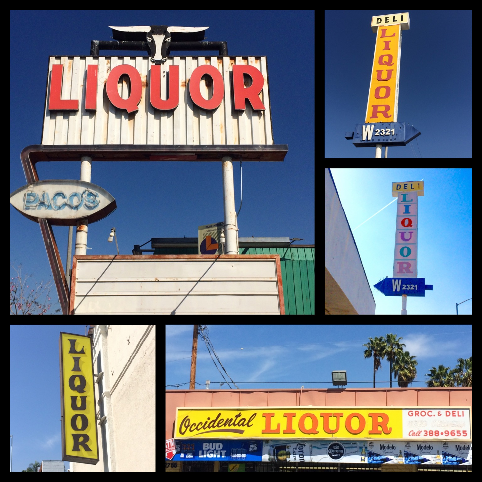 Paco's Liquor on E. 3rd Street in East L.A. was built in 1949; Two sides of a liquor store sign in East L.A.; Showcase Liquor on N. Lake Ave in Pasadena; Occidental Liquor on Beverly Blvd in the Rampart District.