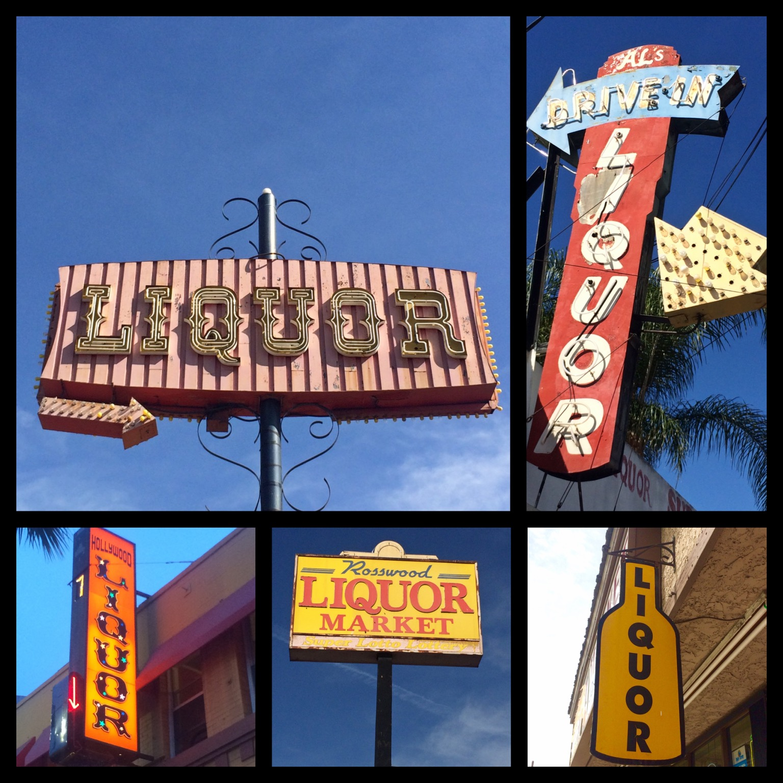 Continental Liquor, built in 1963, on Balboa Blvd in Northridge; Al's Drive-in Liquor, built 1951 on Saticoy Street in Reseda; Hollywood Liquors on Hollywood Blvd in Hollywood; Rosswood Liquor on Roscoe Blvd in Panorama City; Antidote Liquor on Vanowen Street in Van Nuys