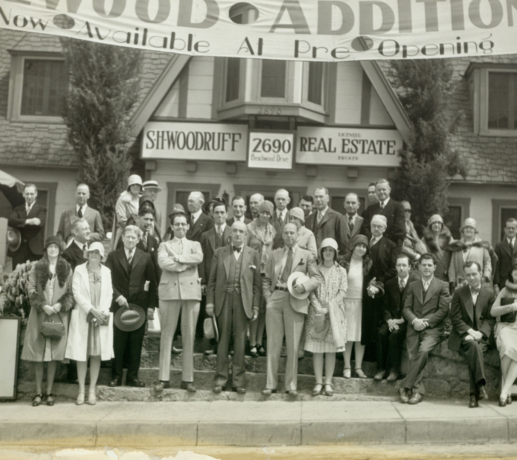 The Hollywoodland Realty Office in 1923. The Developer S. H. Woodruff Stands At Center, Wearing Bow Tie/Courtesy Bruce Torence via Under the Hollywood Sign.